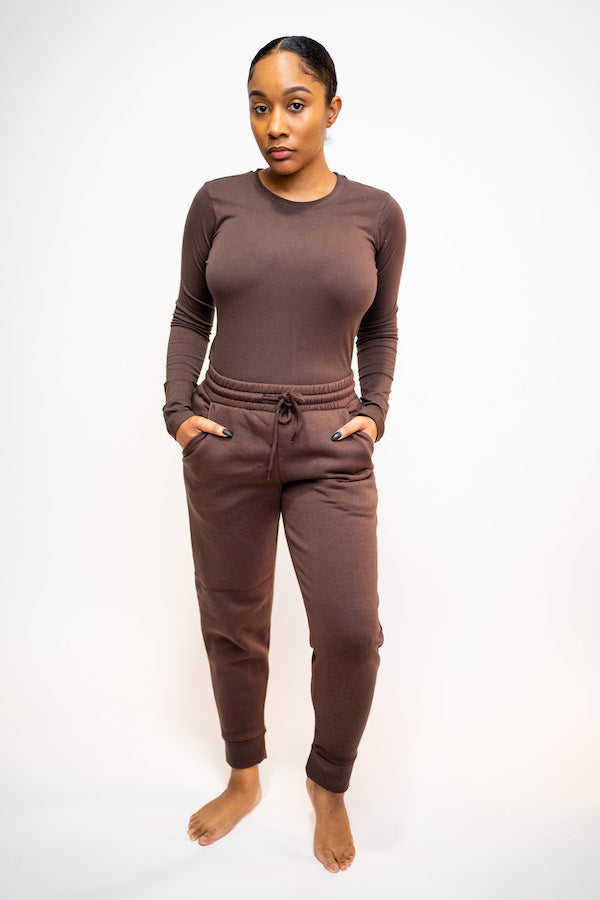 Crew Neck Long Sleeve Shirt and Jogging Pant Two-Piece Set