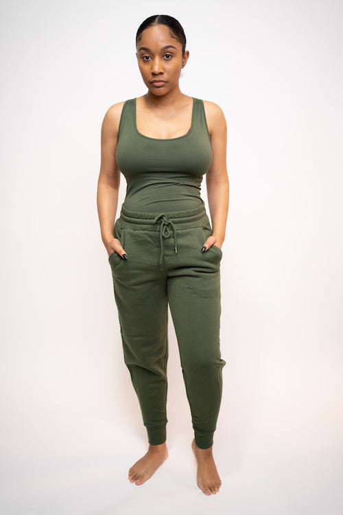 Tank Top and Jogging Pant Two-Piece Set (Army Green)