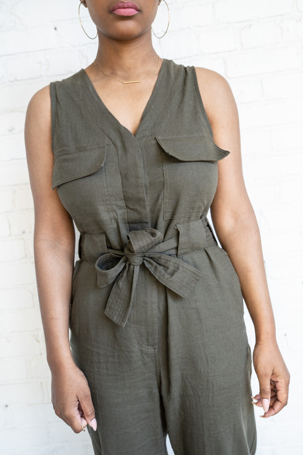 Torso view of Utilitarian Sleeveless Jumpsuit