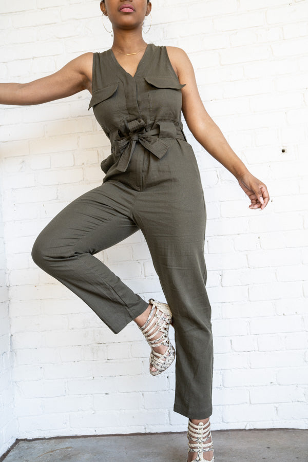Model posing in Utilitarian Sleeveless Jumpsuit