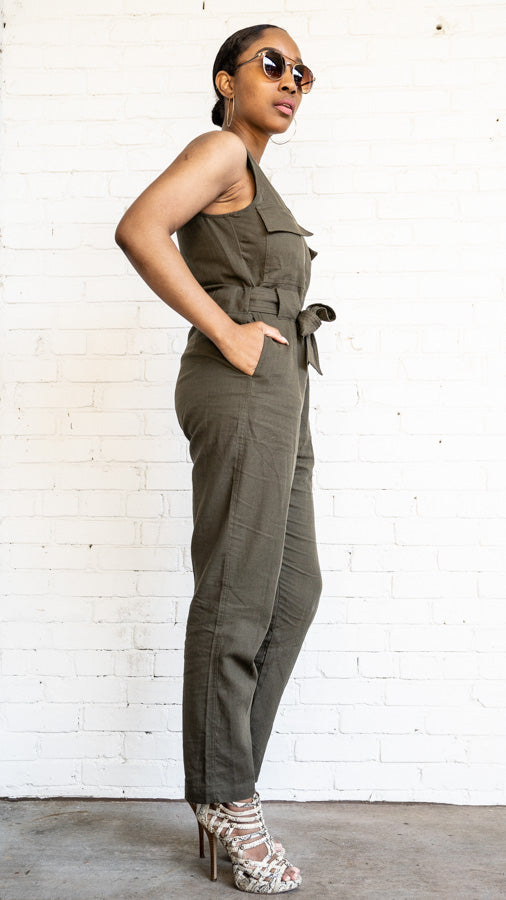 Side view of Utilitarian Sleeveless Jumpsuit