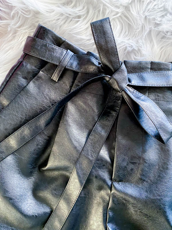 Vegan Leather Paper Bag Shorts