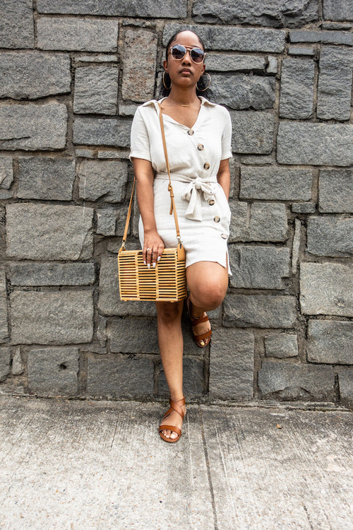 Linen Blend Button Down Dress