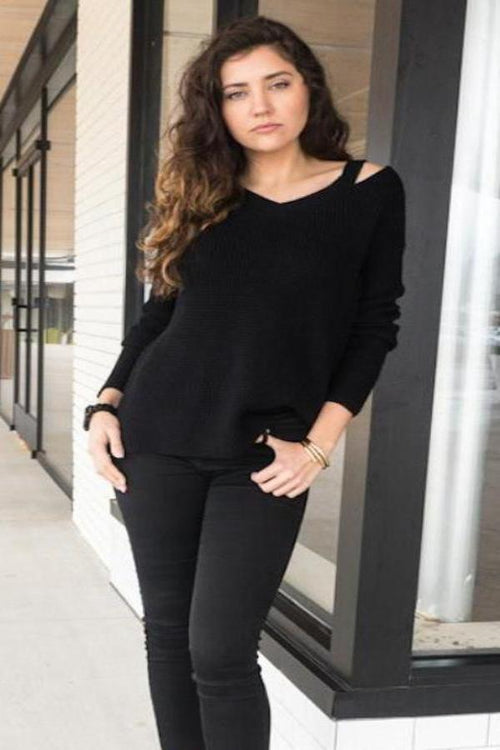 V-Neck Cut-out Knit - BLANK Wardrobe