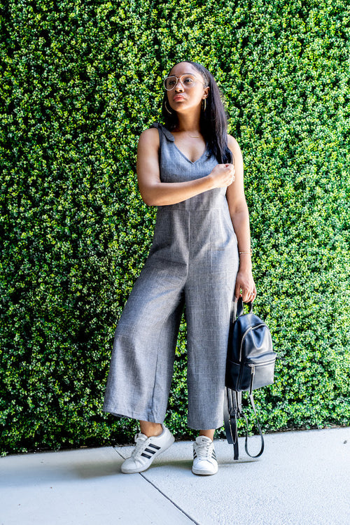 Tie-Shoulder Wide Leg Cropped Jumpsuit with green background
