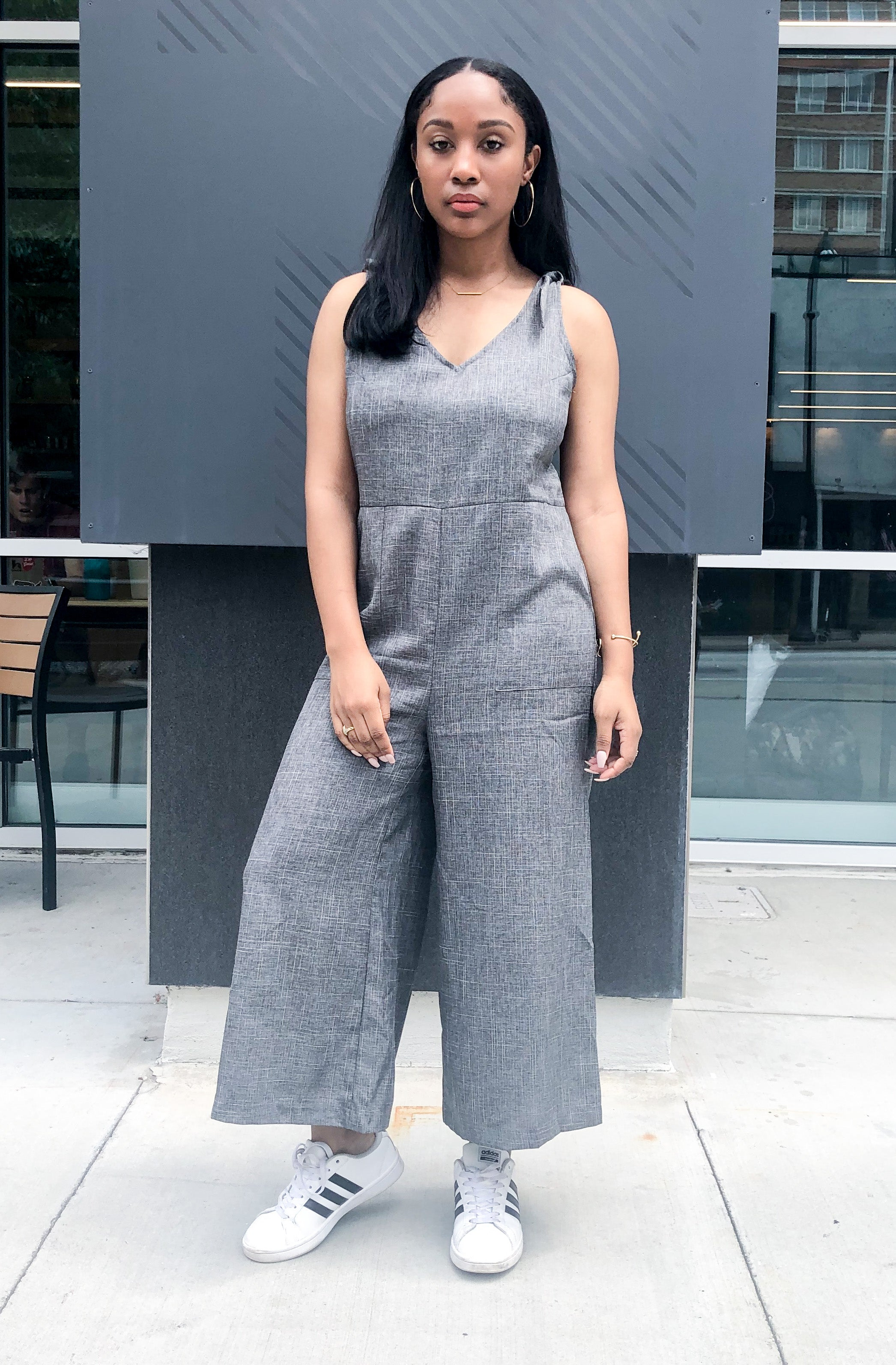 Tie-Shoulder Wide Leg Cropped Jumpsuit