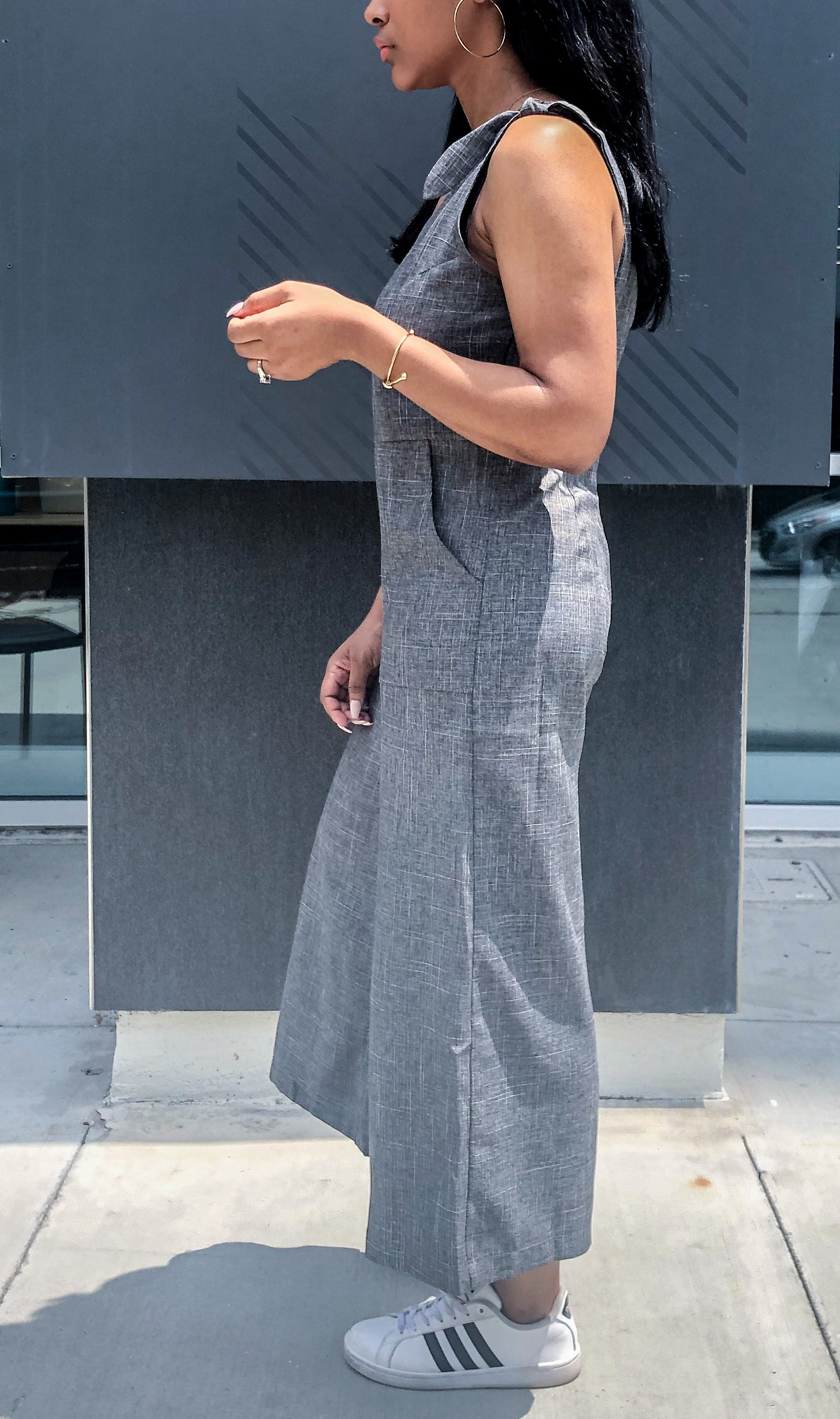 Side view of Tie-Shoulder Wide Leg Cropped Jumpsuit