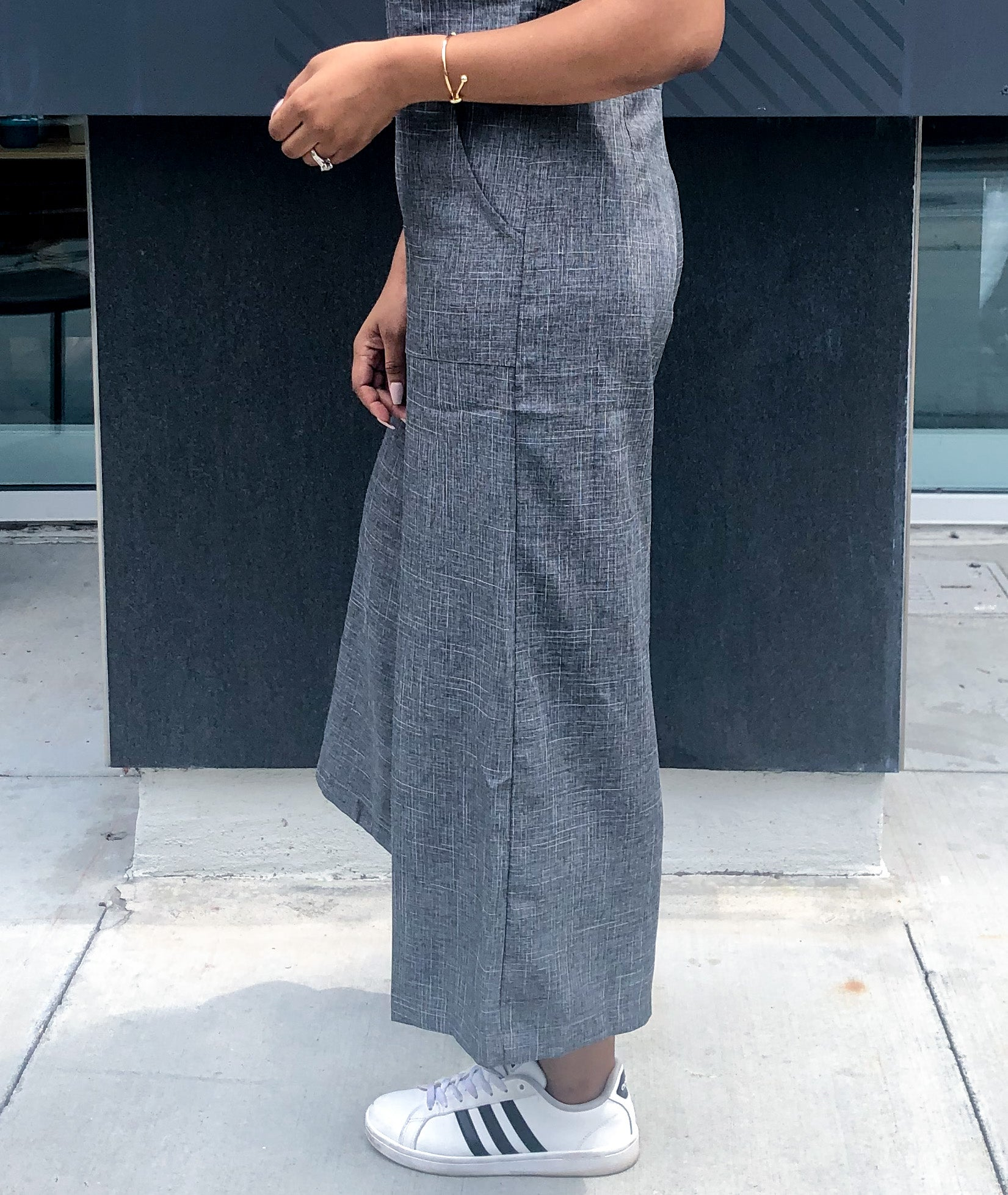 Side view of Tie-Shoulder Wide Leg Cropped Jumpsuit from waist down