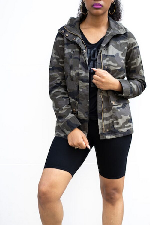 Long Sleeve Camo Military Anorak Jacket