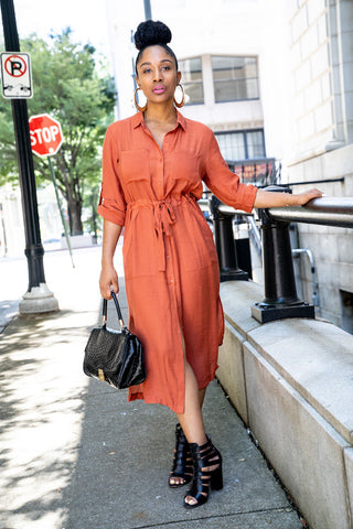 Henley Shirt Dress With Chest Pocket