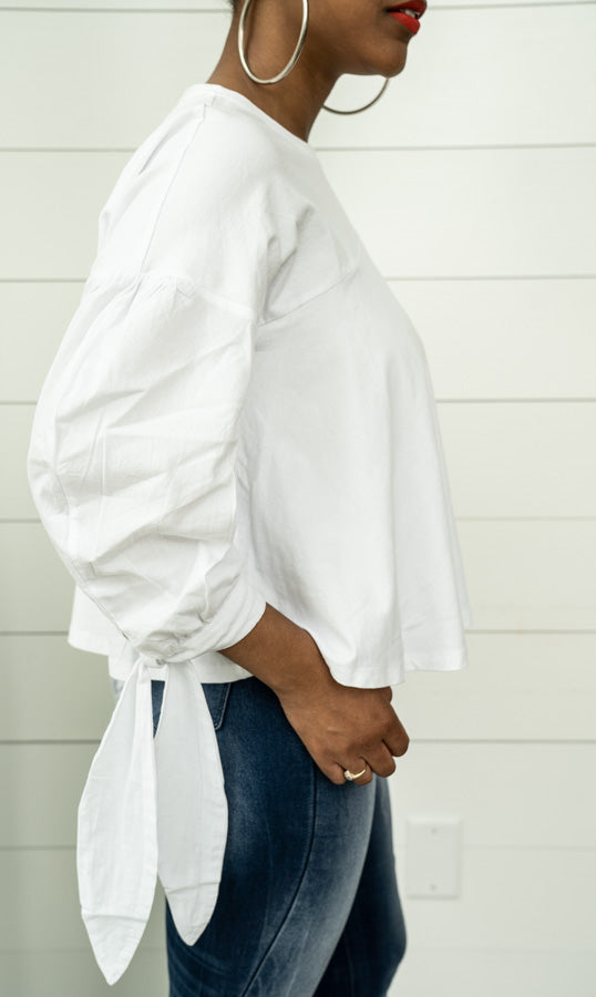 side view of Tie Cuff Puffy Shirt