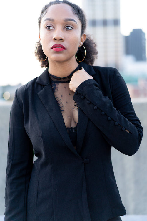 Going-Out black Blazer with black lace bodysuit underneath