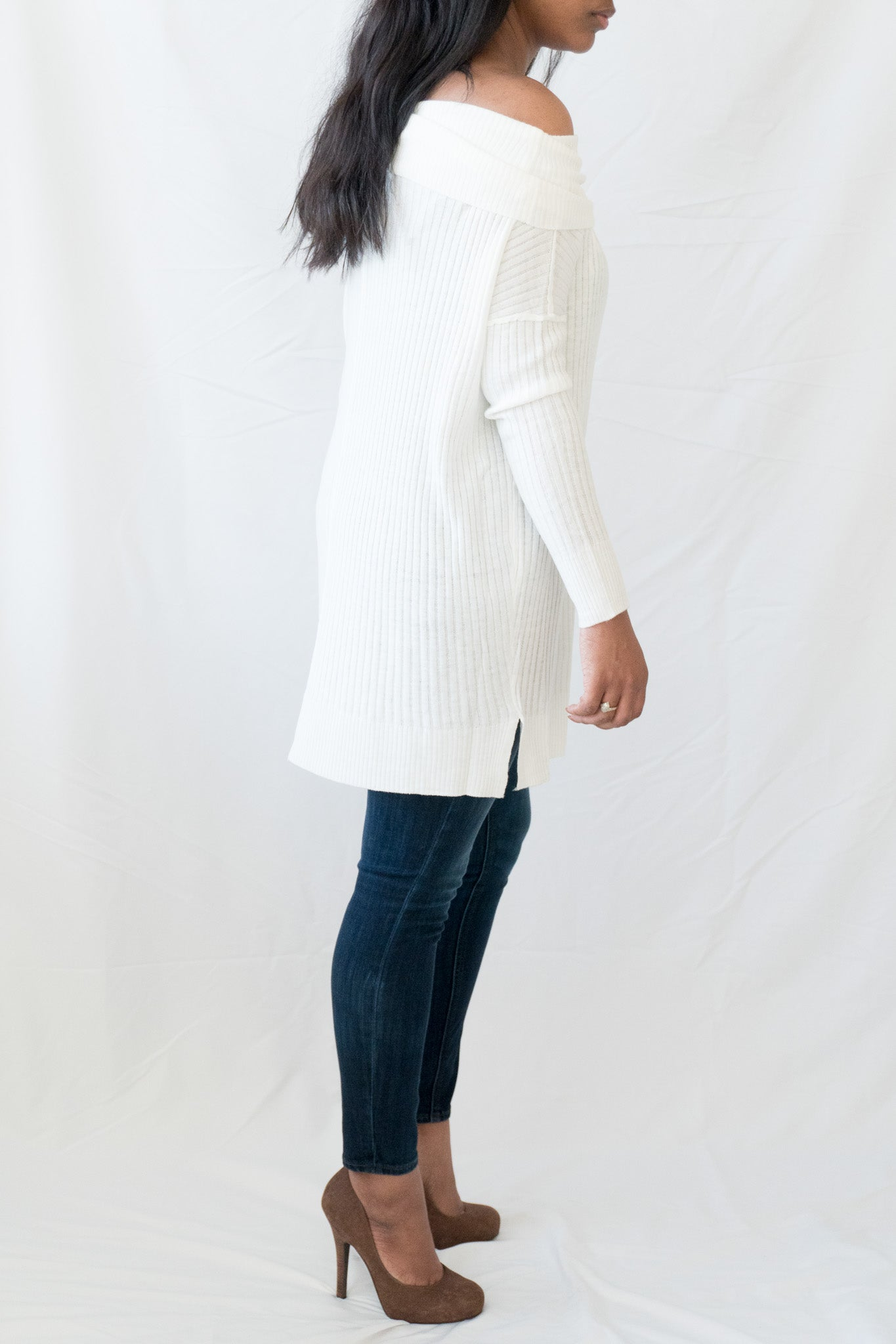 Side view of white off the Shoulder Knit Sweater