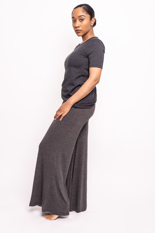 Short-sleeve and Palazzo Pant Two-Piece Set (Charcoal)