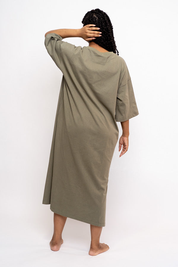 Oversized Midi T-Shirt Dress (Olive)