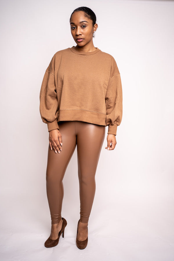 Balloon Sleeve Sweatshirt (Black and Camel)