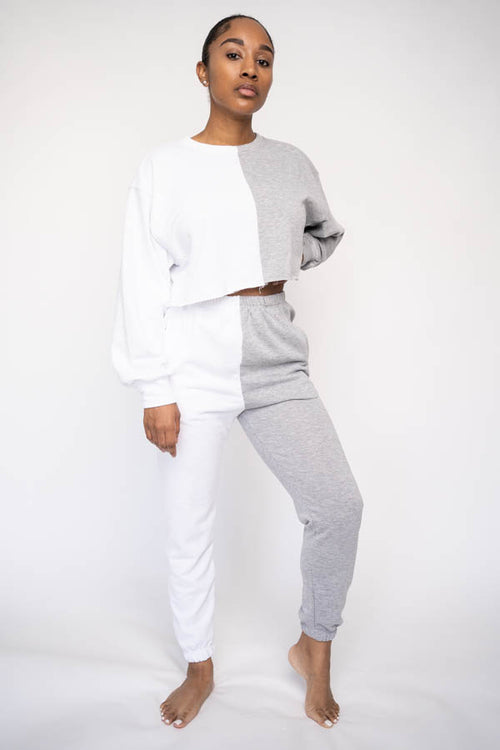 Cropped Color Block Jogger Set