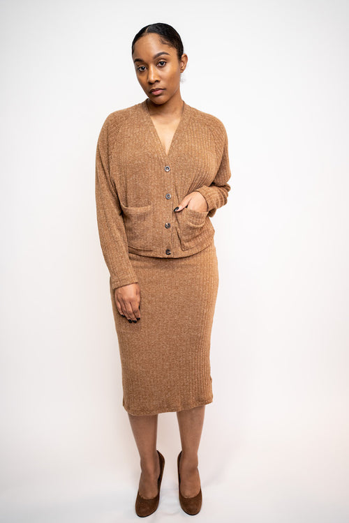 Two-piece midi knit skirt and cardigan set