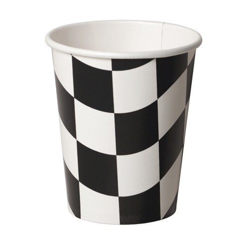 Black & White Checkered Paper Cups