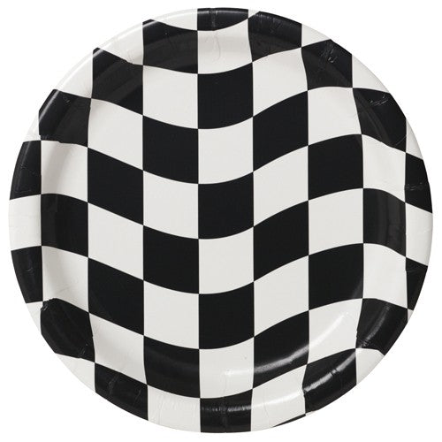 Black & White Checkered Dinner Plates