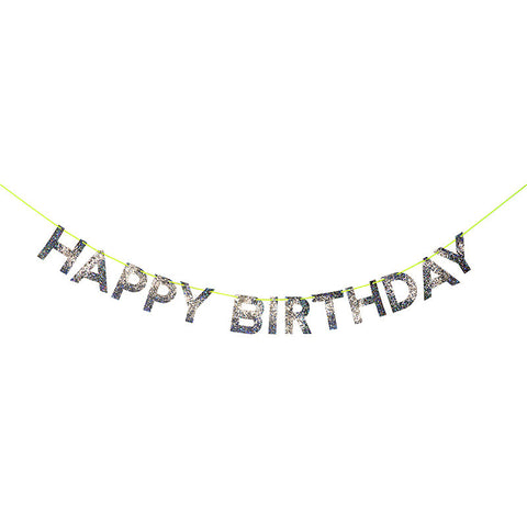 Silver Happy Birthday Glitter Garland