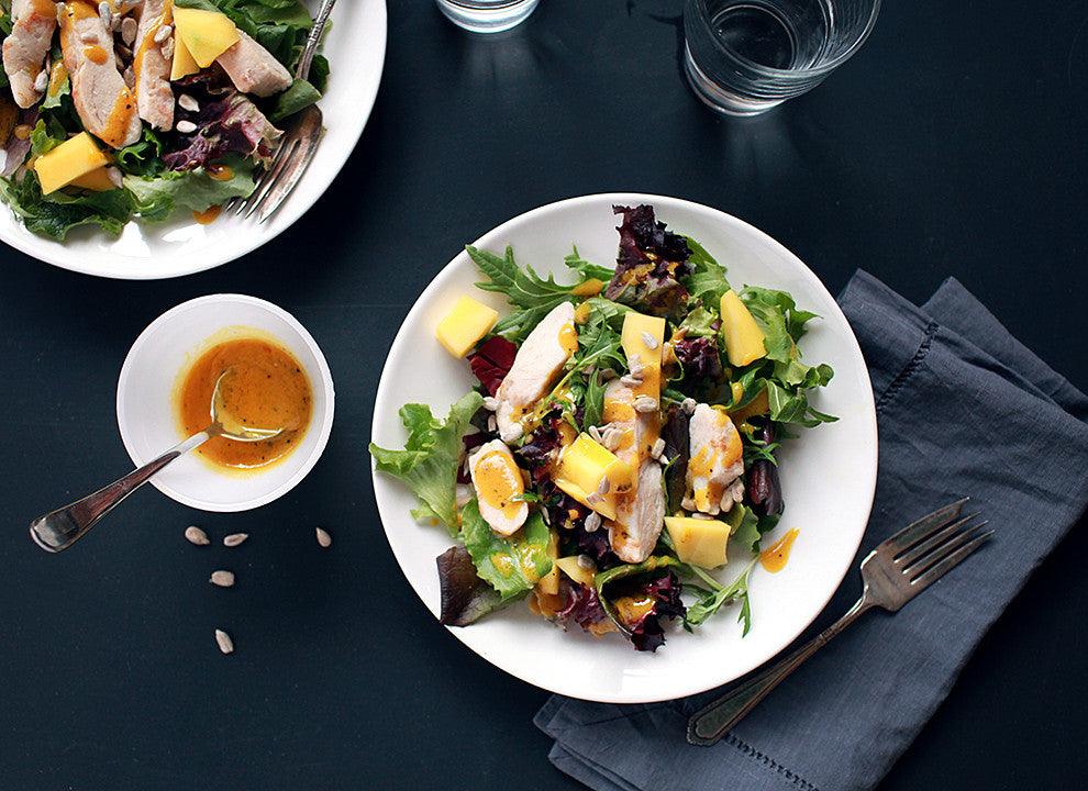 Mango Chicken Salad with Maple Mustard Dressing