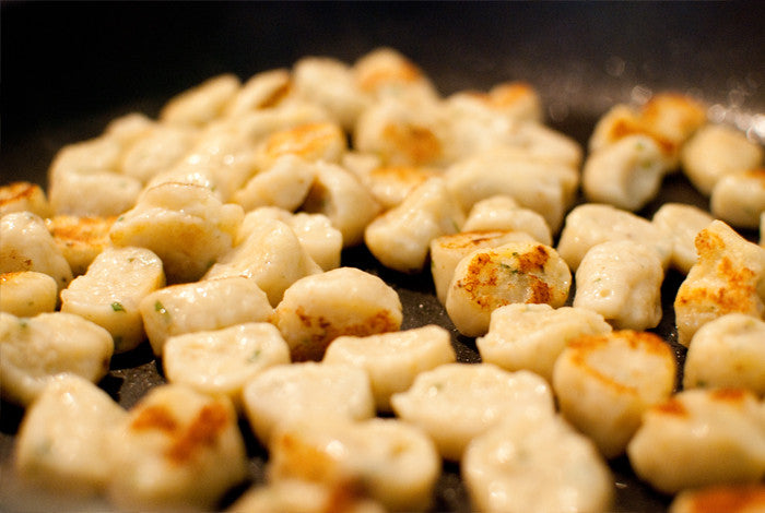 Crisp up the gnocchi in the pan for a few minutes.