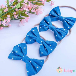 Denim White Hearts Headband