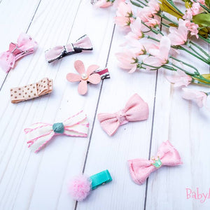 Set Of 8 Hair Bow Clips