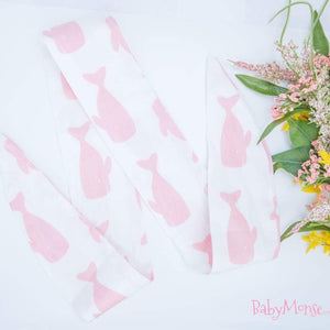 White & Pink Whale Head Wrap