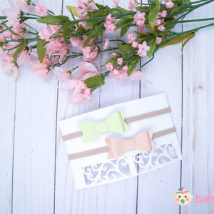 Newborn Headband Bows Lime Green & Nude