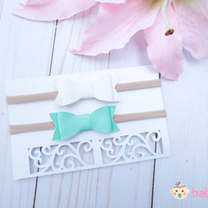 Newborn Headband Bows White & Aqua Blue