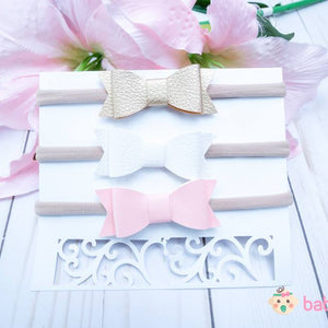 Newborn Headband Bows Gold, White & Pink