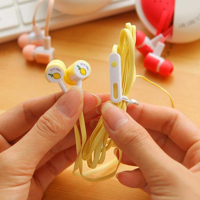 Mobile Accessories - Cute Fruit Candy Earphones With Microphone
