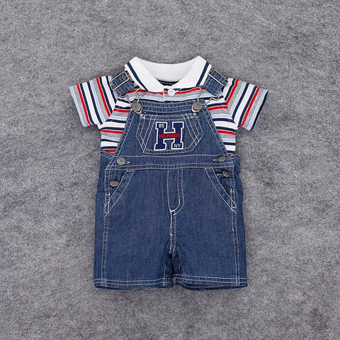 Baby Boys Polo Striped T-shirt  & Denim Coveralls