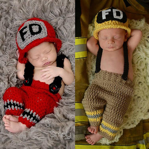 Newborn Boys Crochet Firefighters Photography Prop