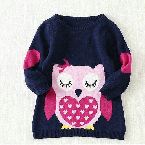 Toddler Girl's Pullover Owl Sweater