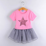 Girl's Sequin Star Two-Piece Dress