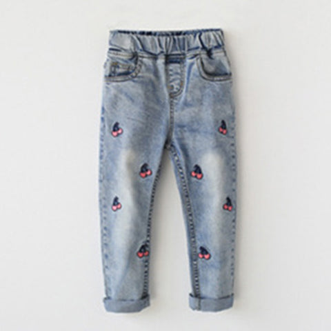 Girls Cherry Embroidered Jeans