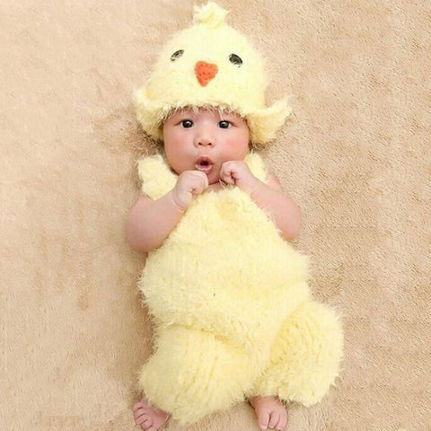 Adorable Baby Chick Suspender Pants and Hat Set