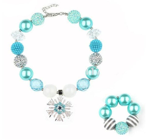 Aqua, White & Silver Girl's Chunky Bubblegum Snowflake Necklace and Bracelet Set