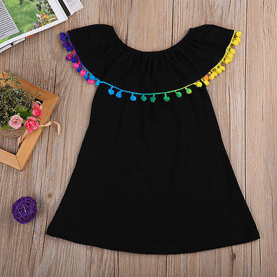 Girl's Black Dress with Colored Pom Poms