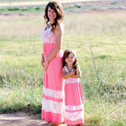 Mother & Daughter Matching Floor Length Lace Inset Dresses