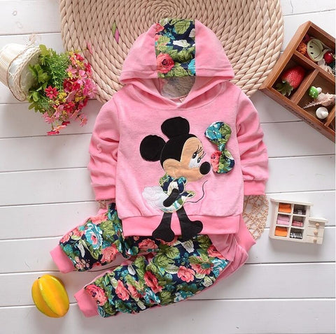 Minnie Floral Girls Hoodie Set
