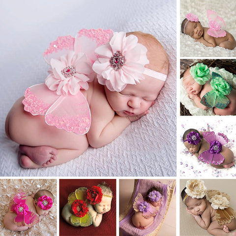 Newborn Baby Butterfly Wings with Flower Headband