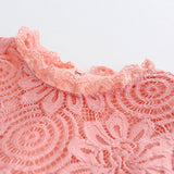 Pink Floral Lace Dress with Petal Sleeves