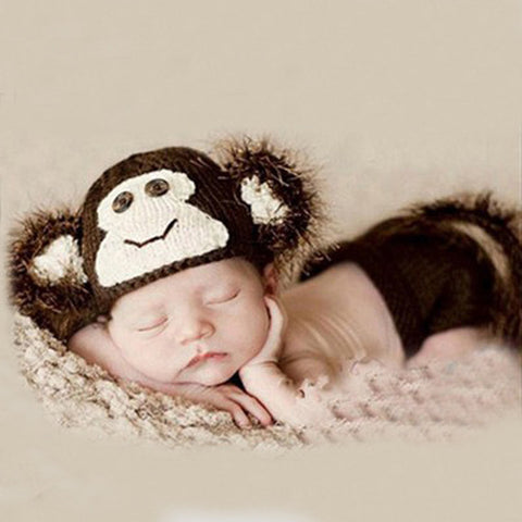 Handmade Crochet Monkey Baby Hat and Shorts