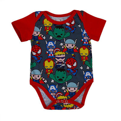Baby Boy Short Sleeve Cartoon Comic Book Hero Romper