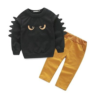 Baby Boy Long Sleeve Monster Sweatshirt & Khaki Elastic Waist Pant Outfit