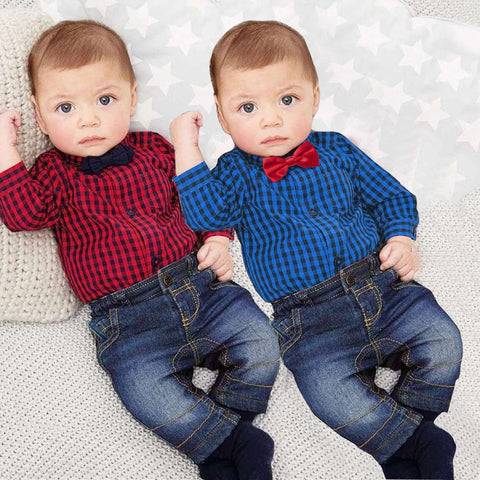 Baby Boy Plaid Flannel Long Sleeve Onesie and Jeans Set